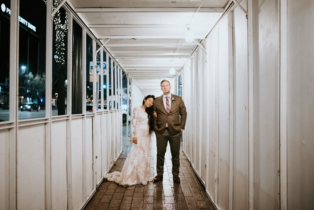 wedding portraits in downtown austin at night