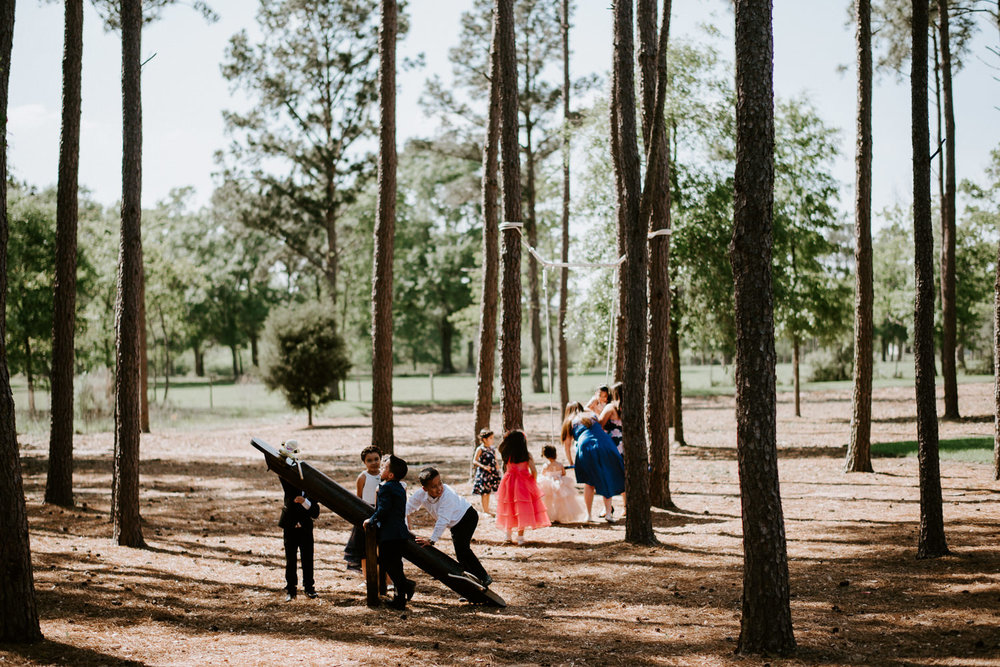 kids play before houston texas wedding
