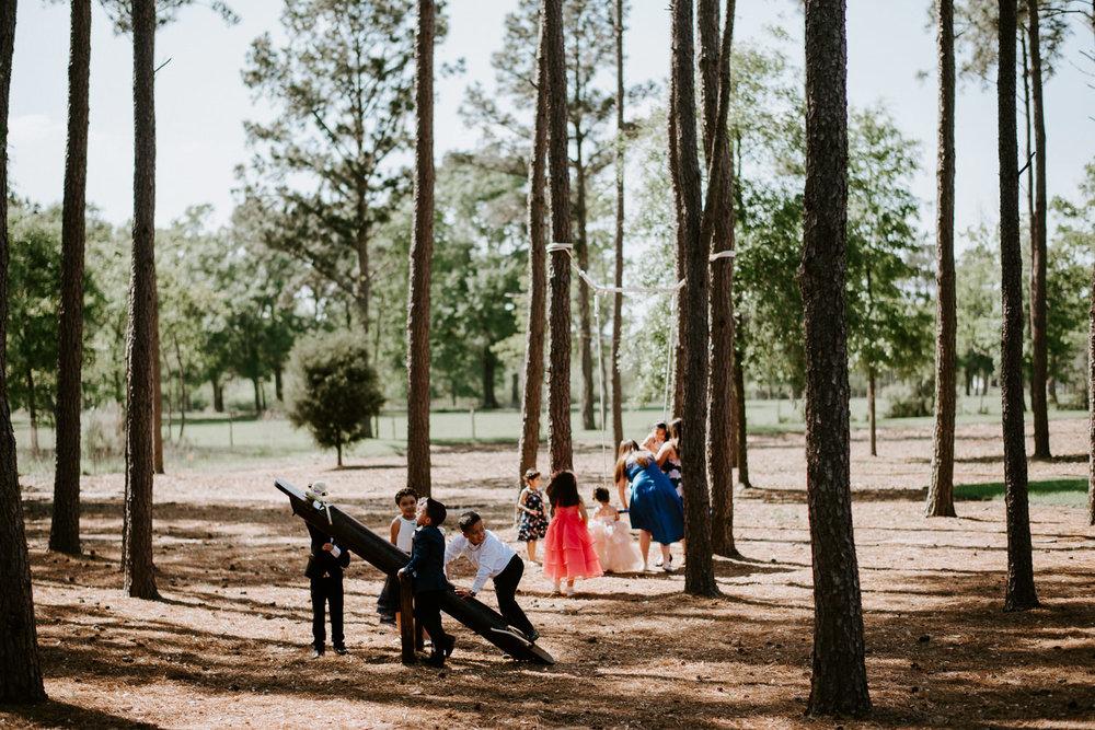kids play before houston texas wedding