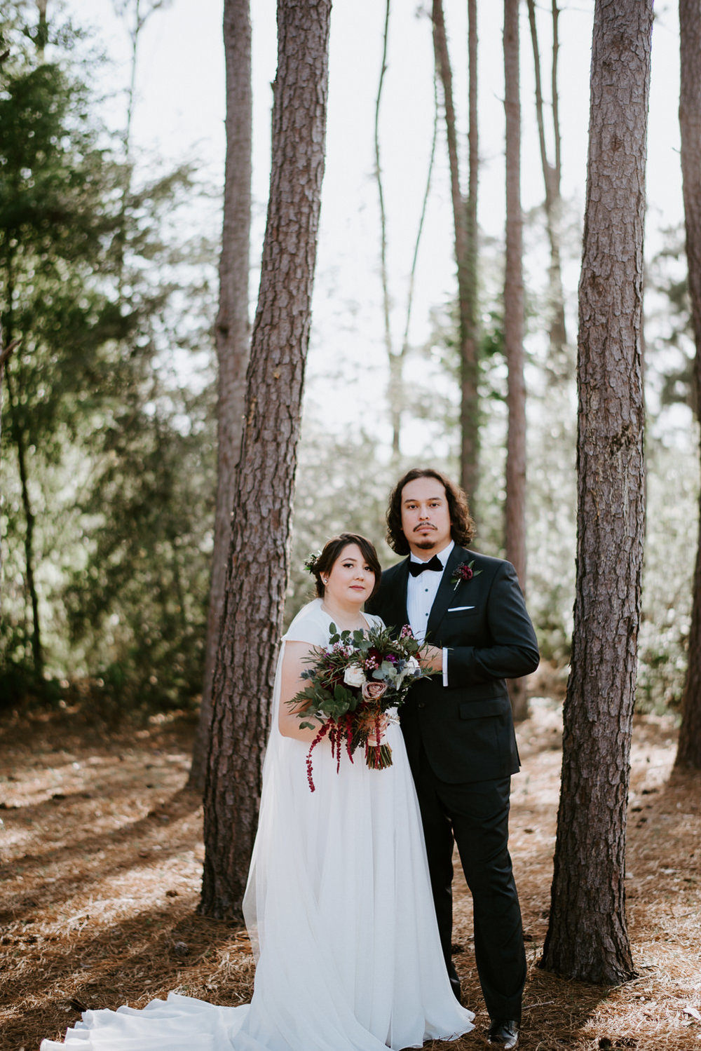 formal bride and groom portraits at the woodlands wedding