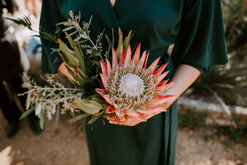 protea bouquet at the greenhouse at driftwood wedding