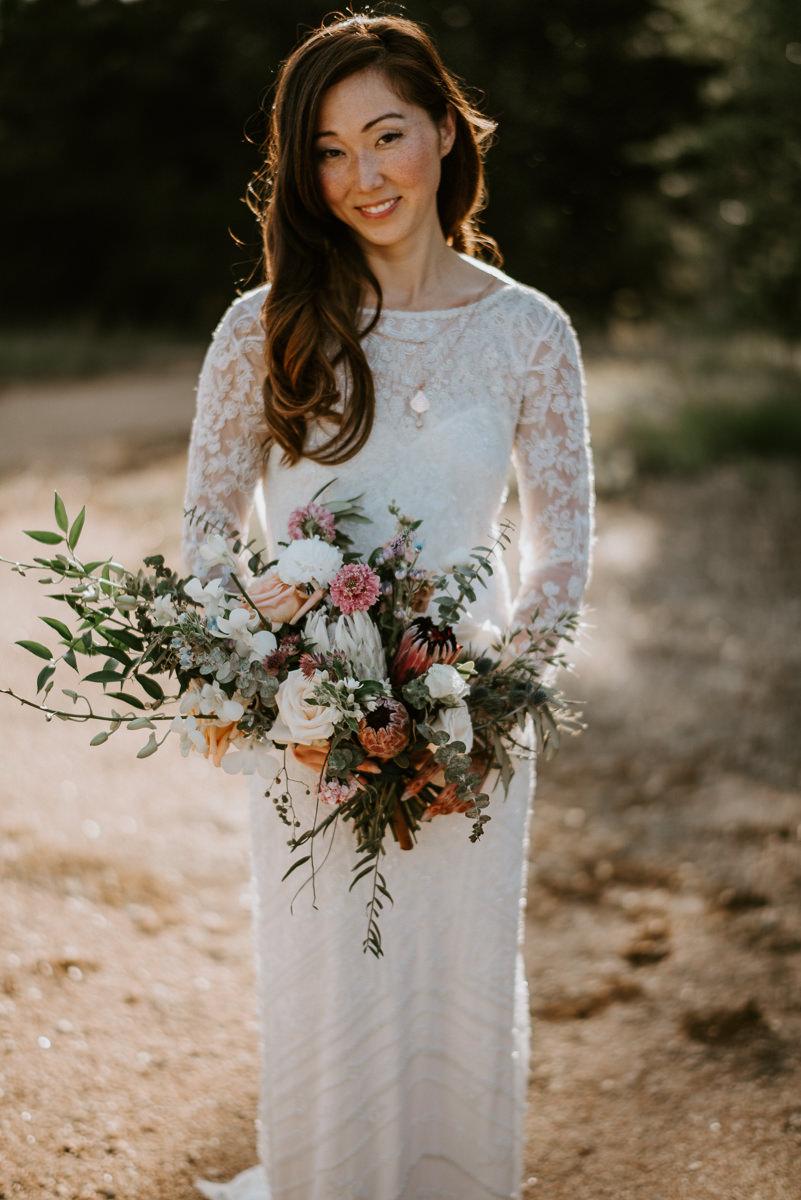 bride in theia wedding gown before austin wedding