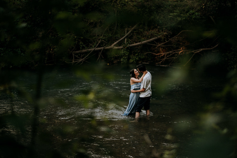 Central Texas river engagement session
