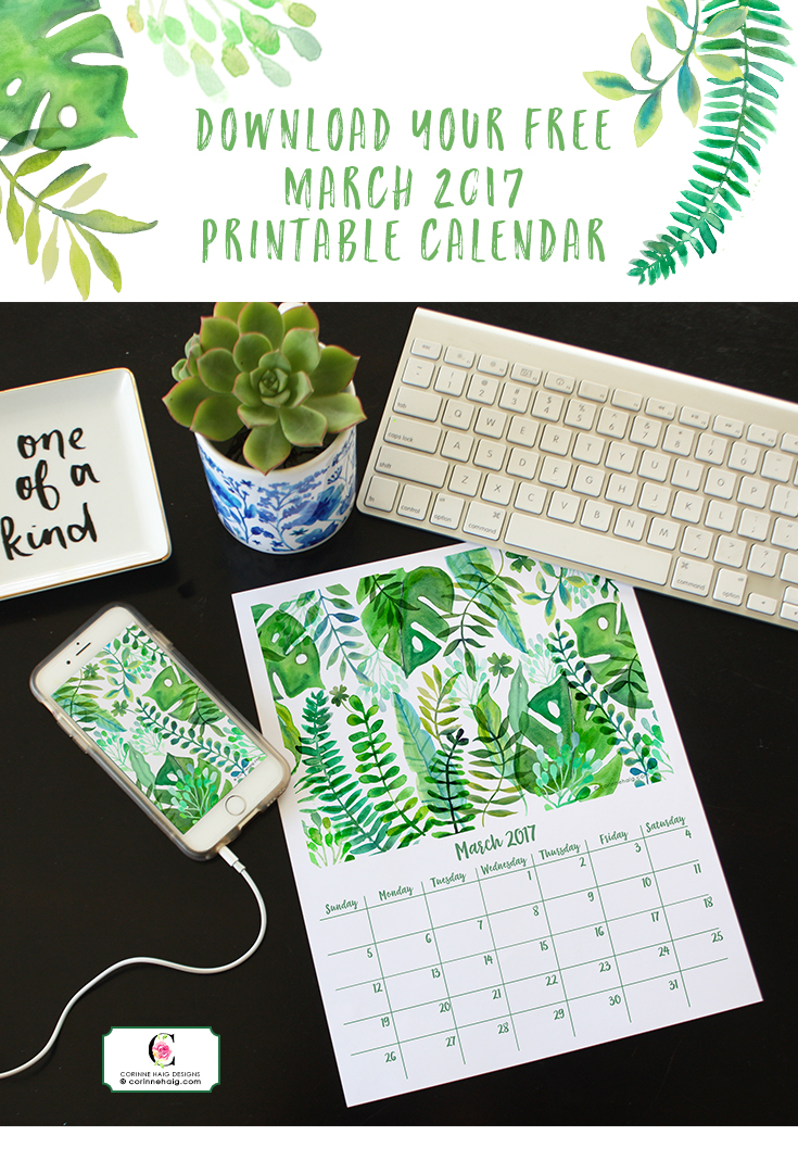 Free Printable March calendar by Corinne Haig