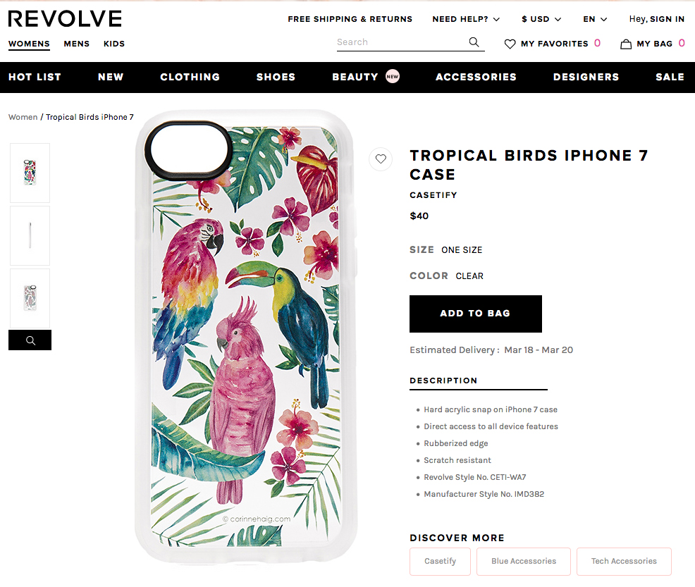 Tropical Birds phonecase by Corinne Haig in Revolve