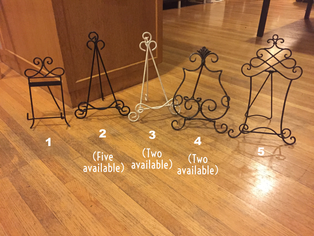 "Small easels – all styles. Multiples available for items 2, 3, and 4. $10 each per weekend. Measure approximately 10"" high and are good for our small sized chalkboard, small photos in frames and other small signs."
