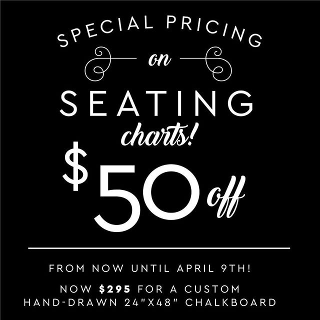 SALE ALERT! $50 off your seating chart if you order by April 9th! Get your CUSTOM, hand drawn chalkboard seating chart perfect for your wedding guests and decor - all for $295 (regularly $345). Holds up to 180 guests, first names and last initials. Message or email (hello@chalkboardsandcompany.com) #torontowedding #weddingtoronto #weddingdecor
