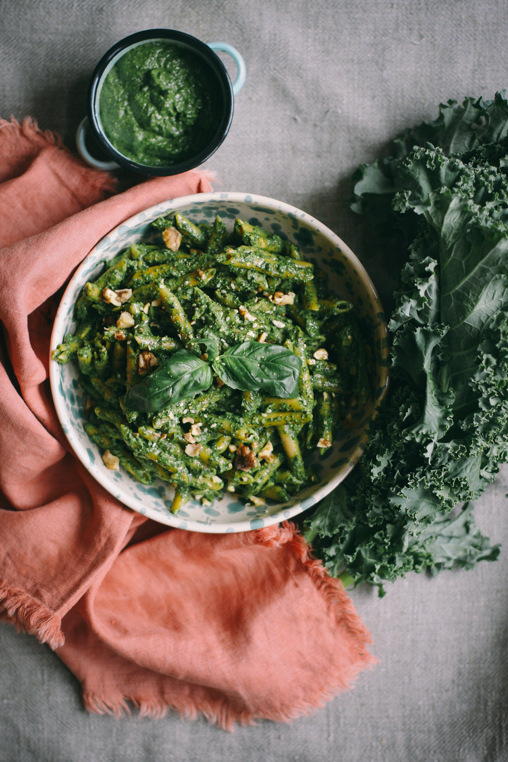 Spring Quinoa and Lentil Pasta with Basil and Kale Pesto
