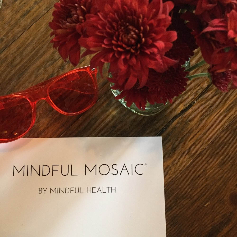 Mindful Mosaic Root Chakra Color therapy glasses