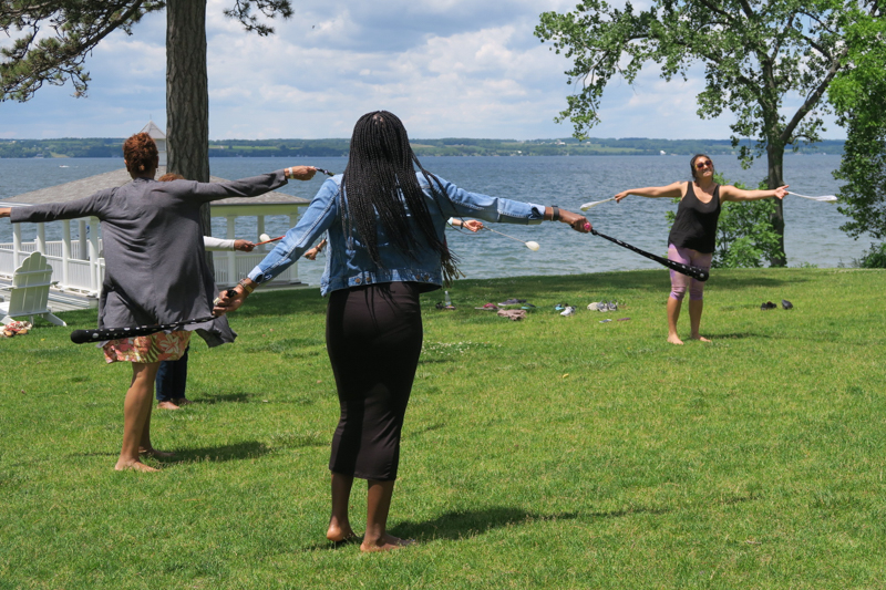 Root Chakra Poi Exercise Arm Work out at Mindful Health Mindful Mosaic women's retreat in upstate NY