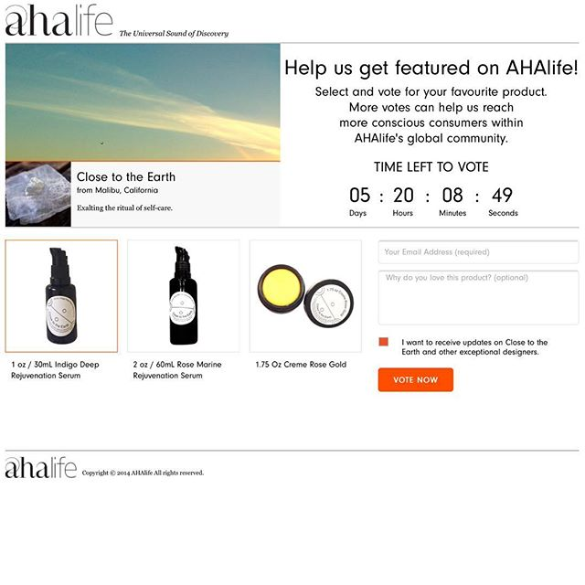 Please vote to help get us featured on @ahalife http://vote.ahalife.com/close-to-the-earth?utm_source=close-to-the-earth&utm_medium=partner&utm_campaign=pulse