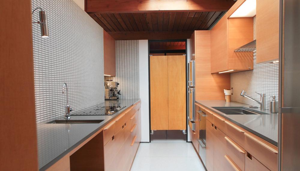 CASE STUDY KITCHEN Galley Kitchen In Vertical Grain Fir And Caesar Stone.  House By Craig