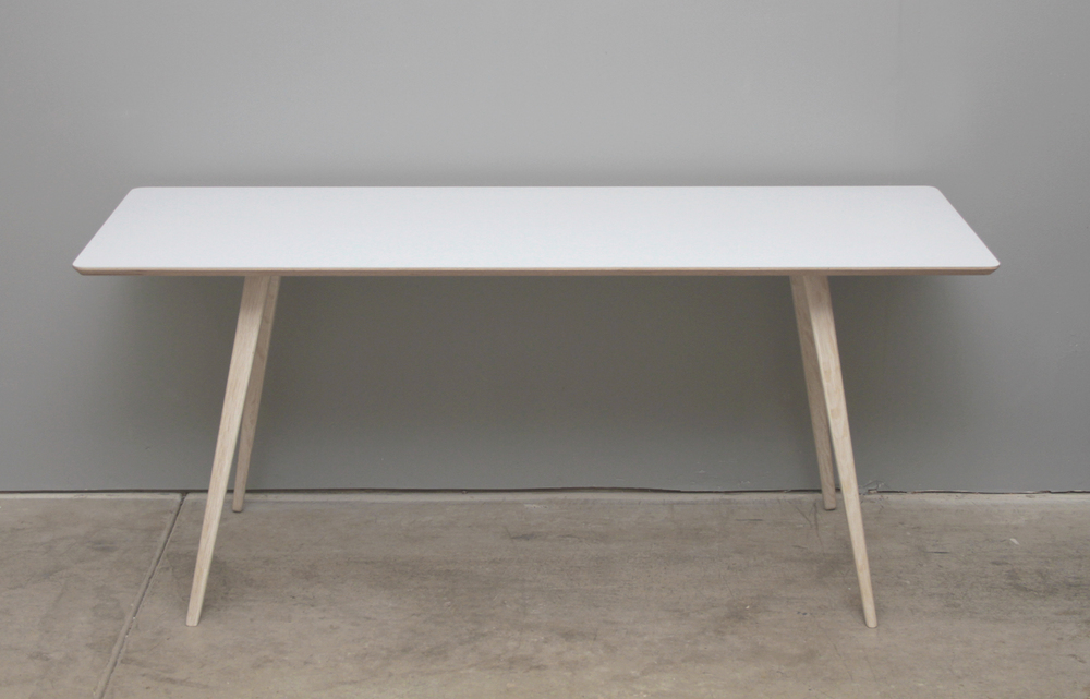Work Station With Bleached Oak Legs, A Powder Coated Aluminum Chassis, And  A Formica Top.