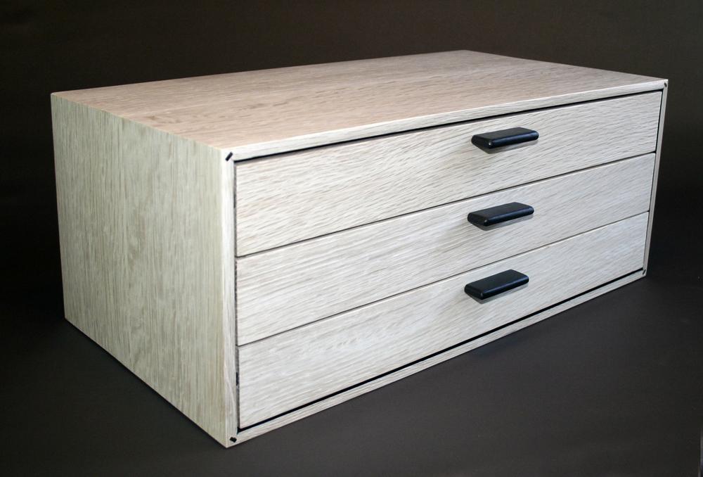 BEAUMONT JEWELRY BOX Modern Jewelry Box In Bleached White Oak And Ebony.