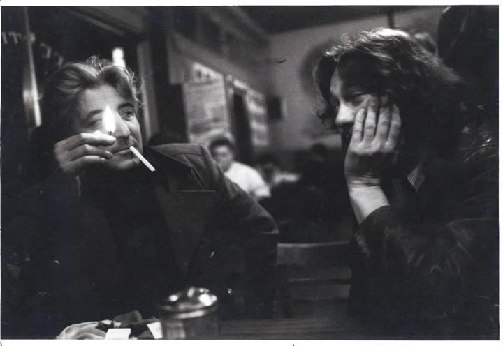 Poets Jack Micheline and James Dalessandro at Caffe     Trieste,         shortly after a reading in North Beach, 1974. Photo by Paul Farren.