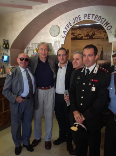 "James Dalessandro, in Padula, Italy, for the the ""Giuseppe Petrosino Award"" in his hometown. Given to the top Italian Police Officer, Prosecutor and Politicians who have waged war on the Italian Mafia.  To the left is Petrosino's grand nephew, Nino, and to the right, an Italian Carabinieri officer on the Anti-mafia Squad."