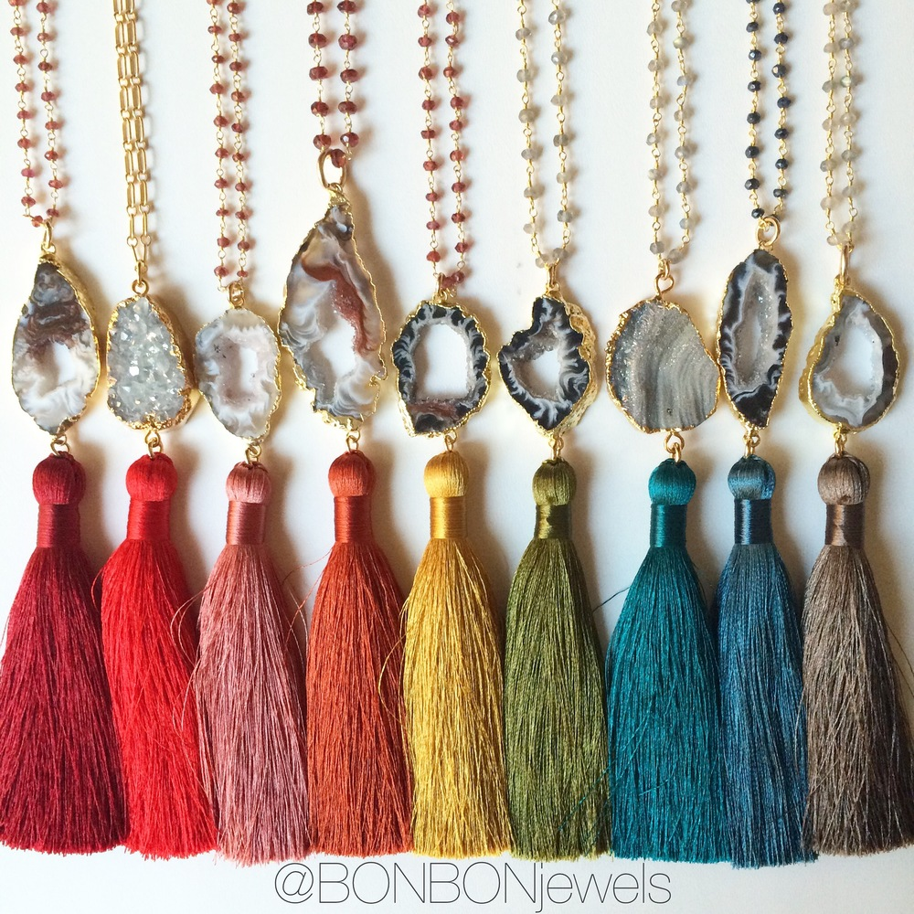 Silky Luxe Tassel & Agate Long Necklaces