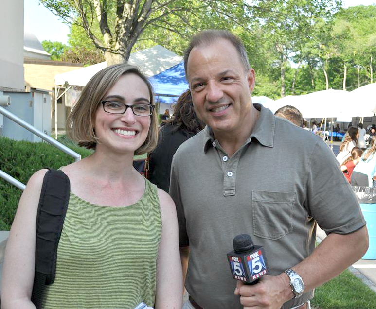 Interviewing Fox 5 meteorologist Nick Gregory at the NJ Greek Fest.