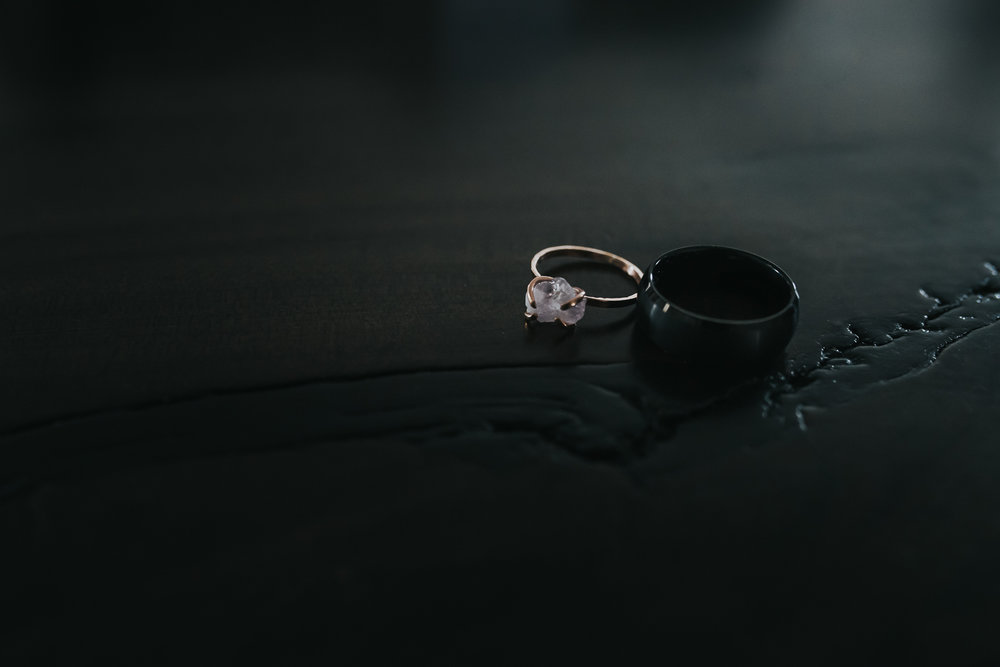 Wedding bands rose gold with rough cut amethyst and titanium