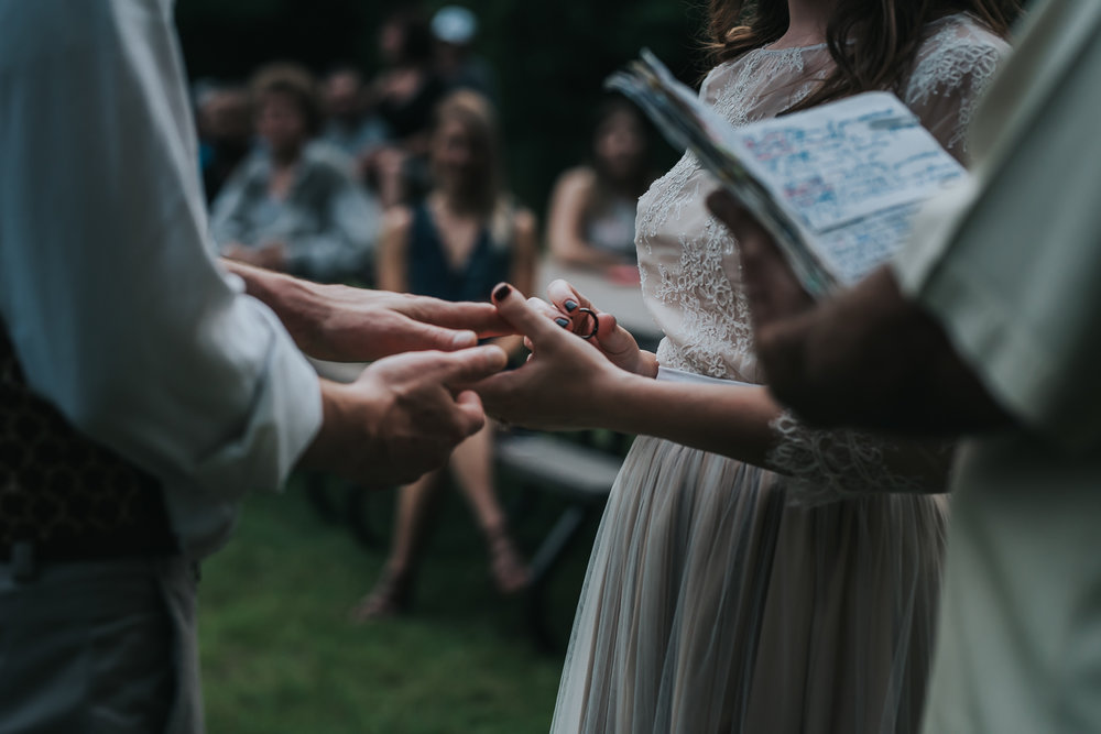 Bride placing the ring on her husband's finger