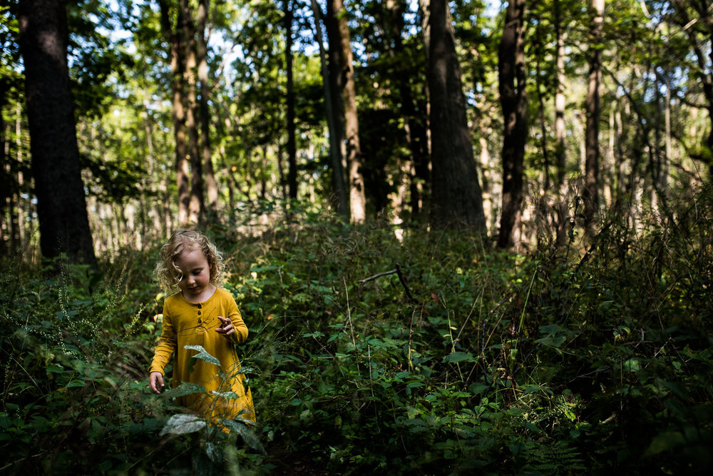 A toddler girl with blond curly hair in a mustard yellow shirt dress standing in a wooded field of green plants and trees.