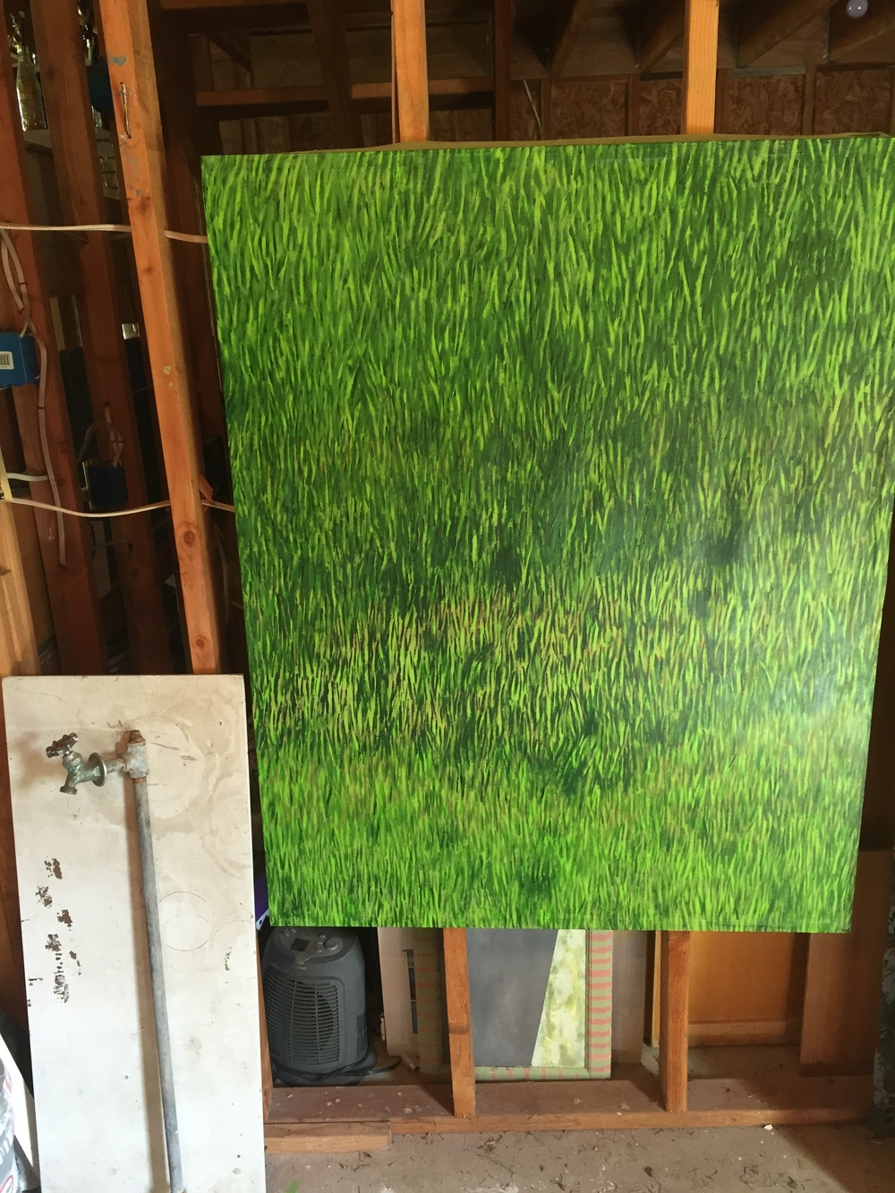 The two components of the grass piece in the works.