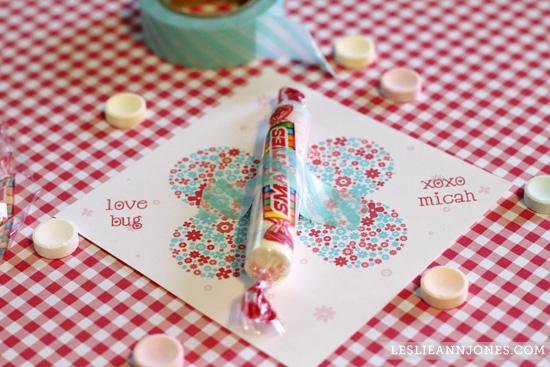 Free Printable Valentines DIY Smarties Love Bug Cards Leslie – Valentine Cards Preschool