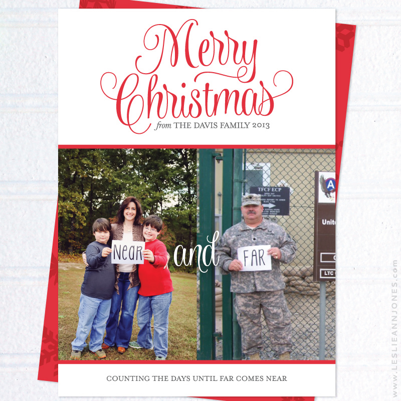 custom design near and far military family christmas cards