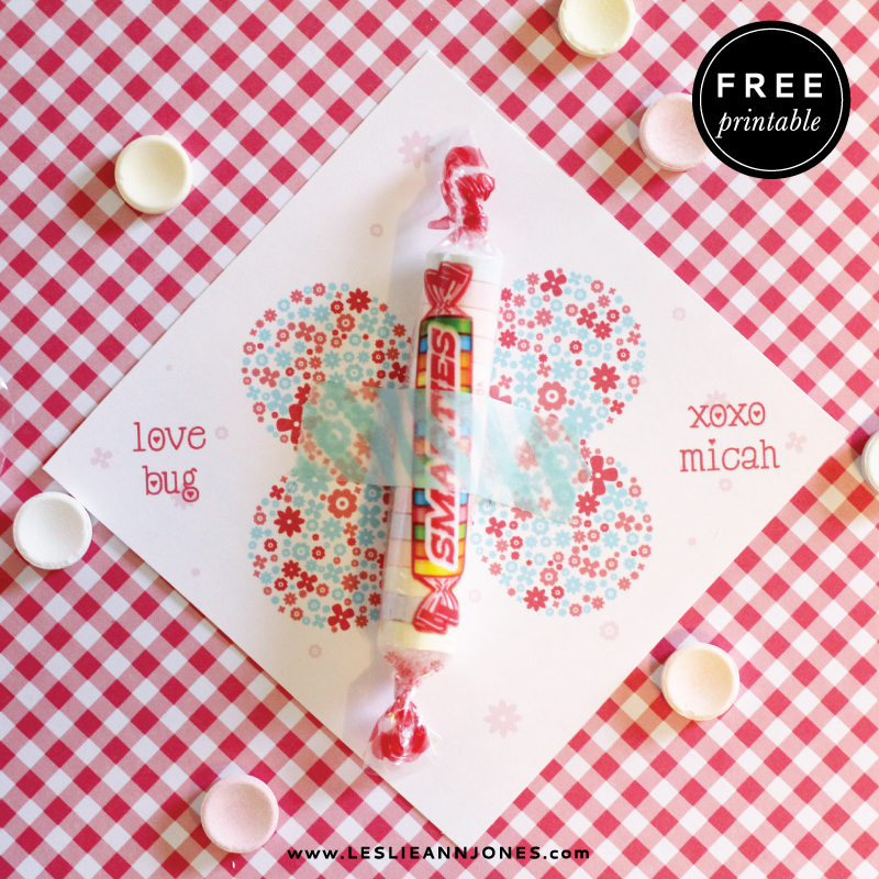 free, printable, valentine, smarties, love bug