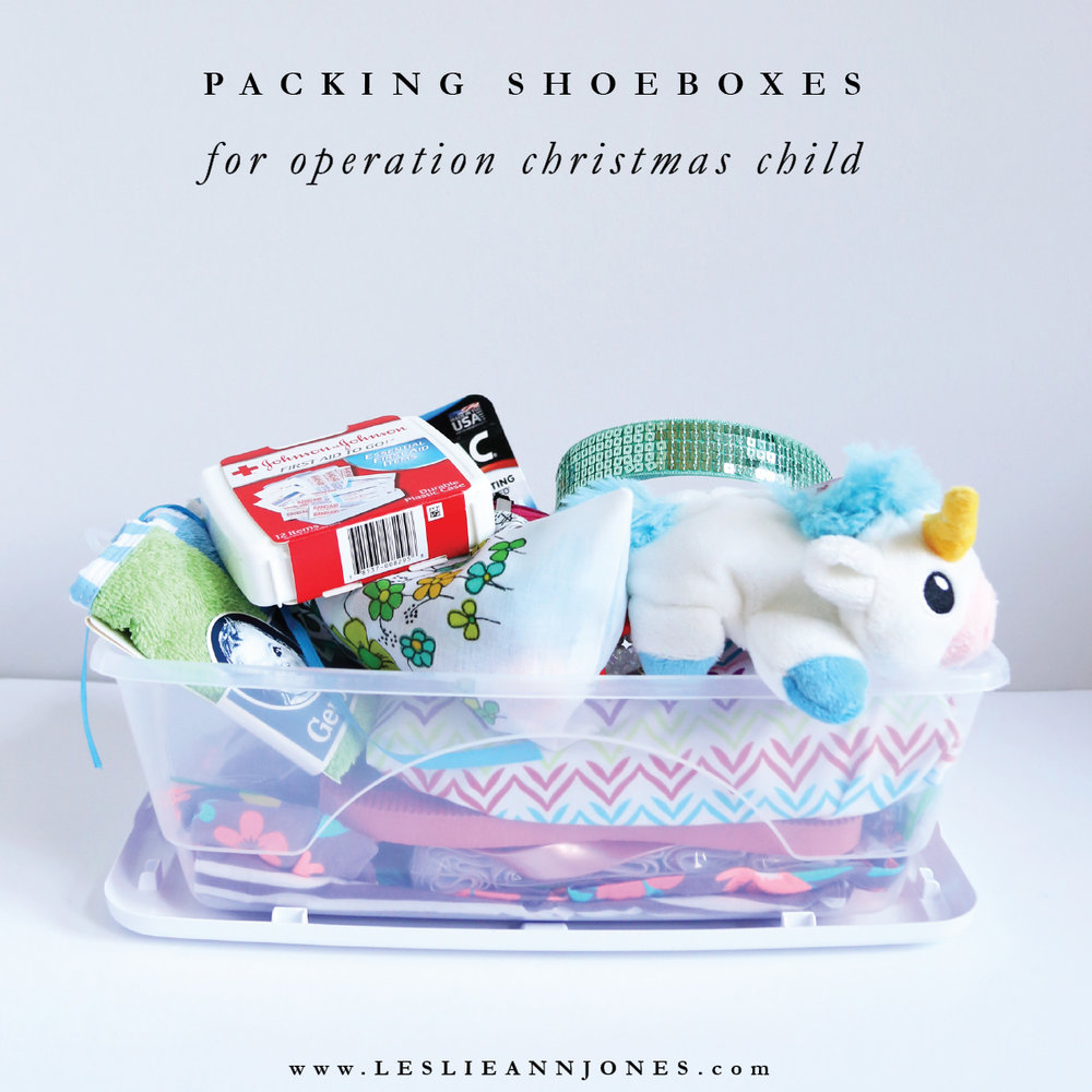 Ideas and Tips for Packing Operation Christmas Child Shoeboxes. Be sure to include clothes, accessories, toiletries, toys, school supplies, and other useful items. Find more ideas at leslieannjones.com.