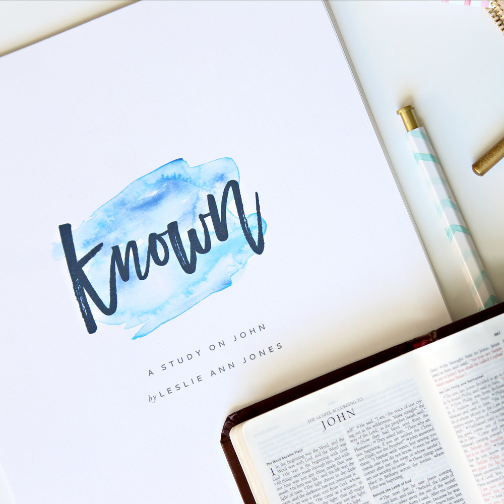 Known is a 9-week Bible study on the Gospel of John that explores the life, words, signs, and wonders of Jesus, so that we can know him and make him known. Download your workbook at leslieannjones.com/known.