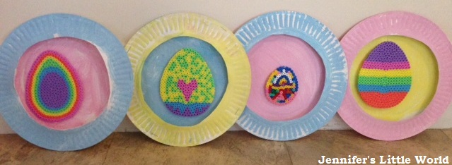 Paper plate and Hama bead Easter decorations