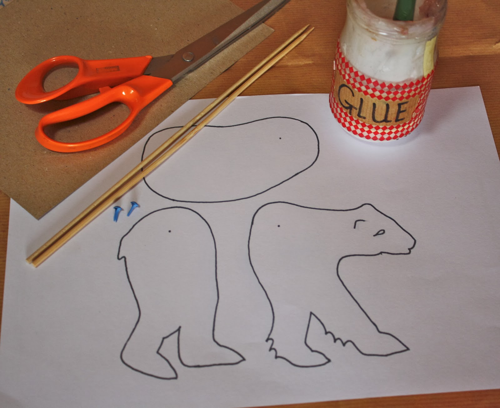 If you go down to the woods today…. Polar Bear Stick Puppet