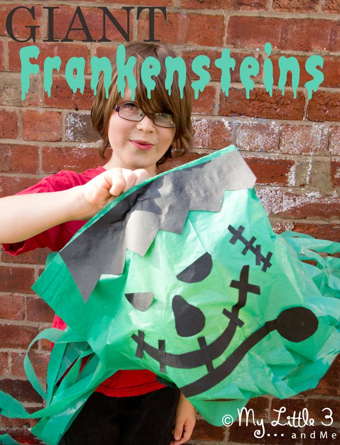 Homemade Halloween Decorations- Floating Frankensteins- My Little 3 and Me