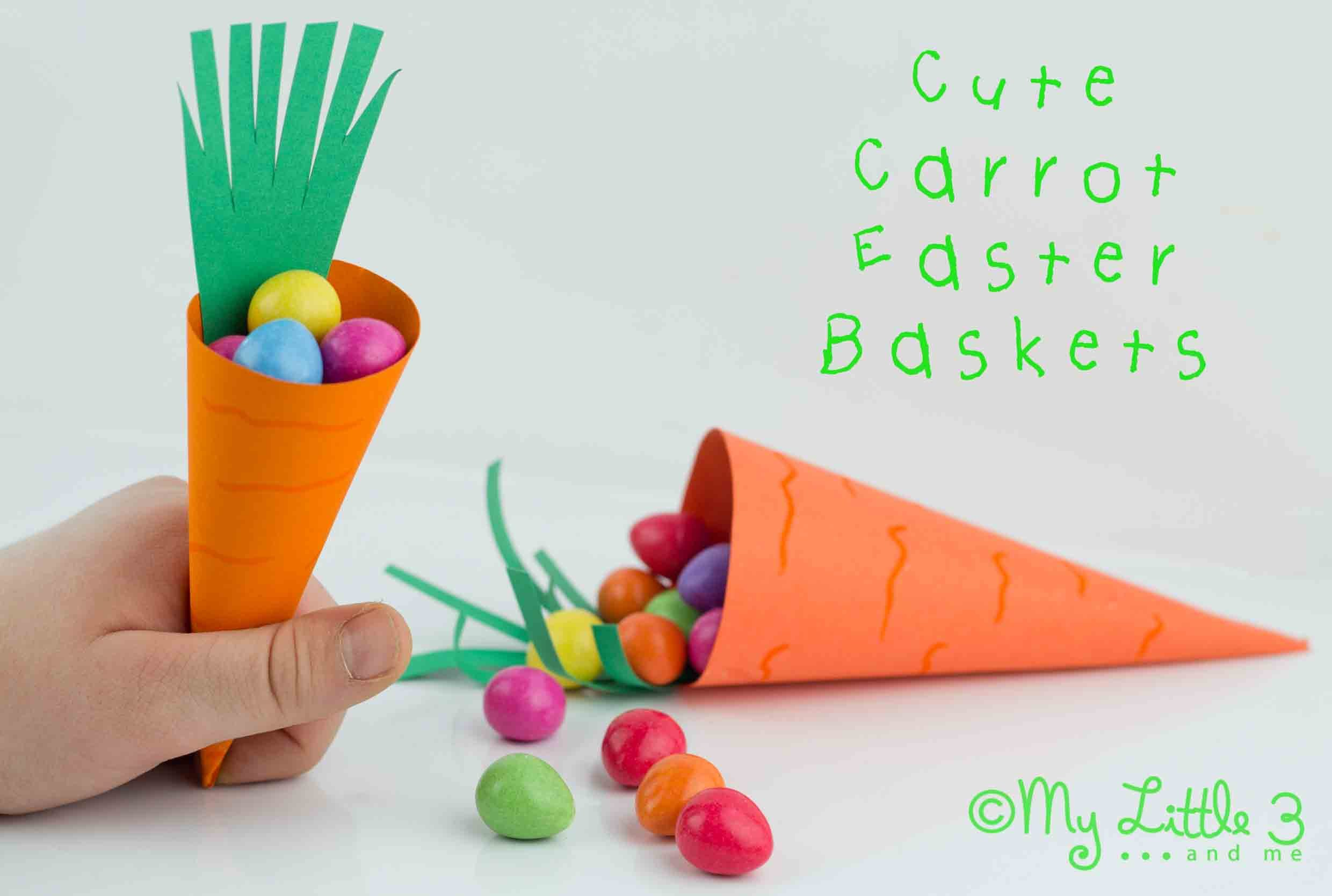 Make A Carrot Easter Basket - Free Printable - My Little 3 and Me