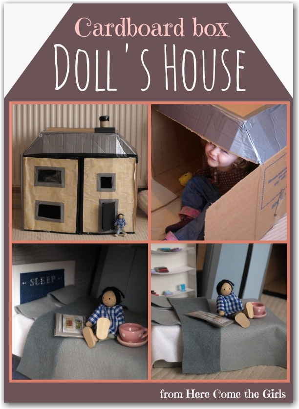 Cardboard box dolls house - Here Come the Girls