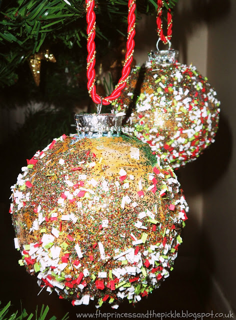 Upcycled baubles - fun Christmas craft for young children!