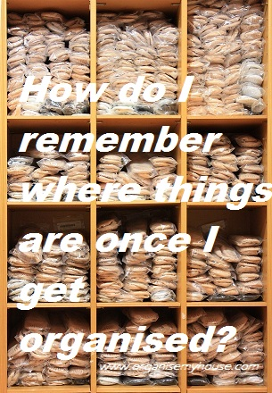 How can I remember where things are once I have organised them?