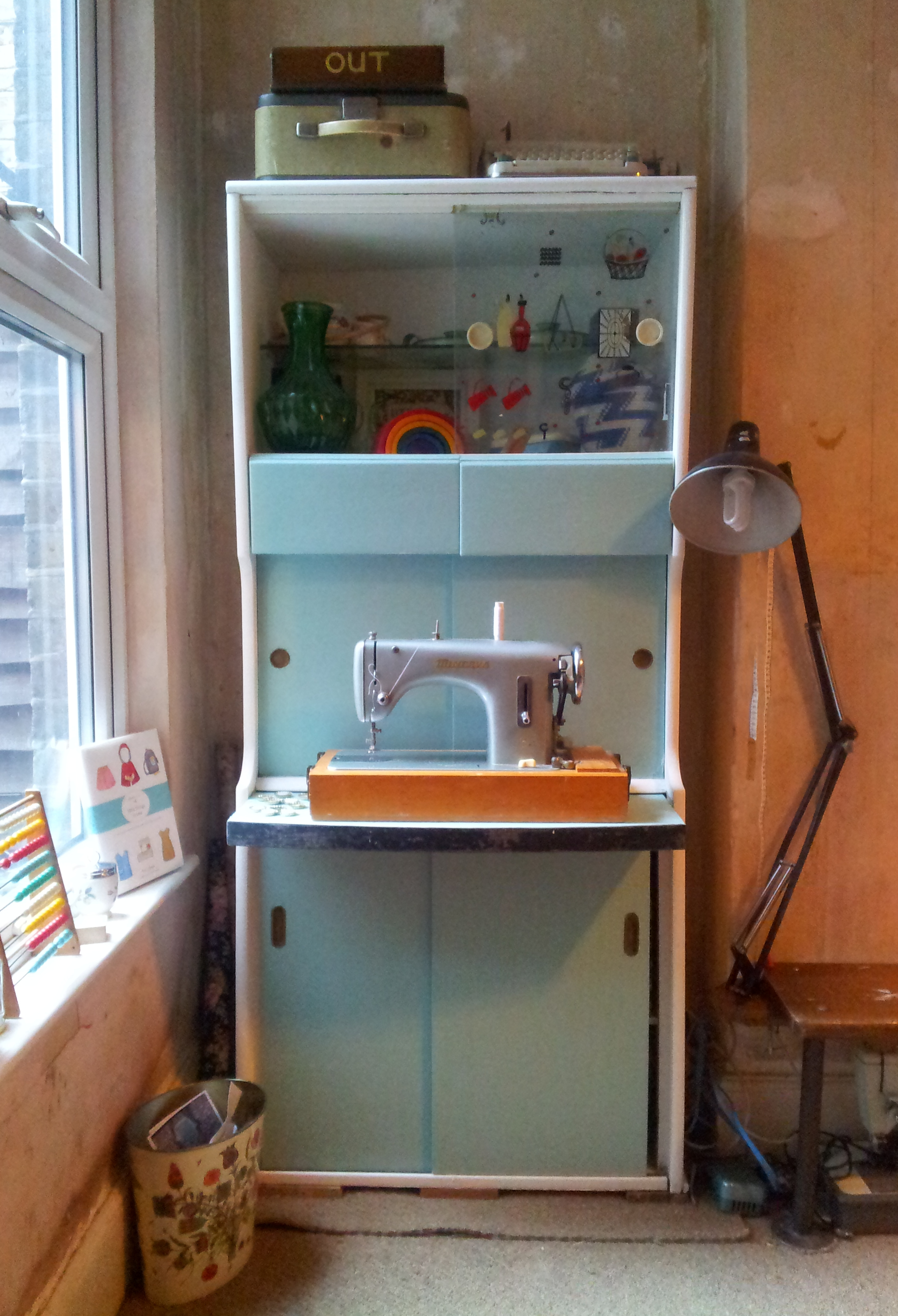 1950's cabinet makeover - my new craft station