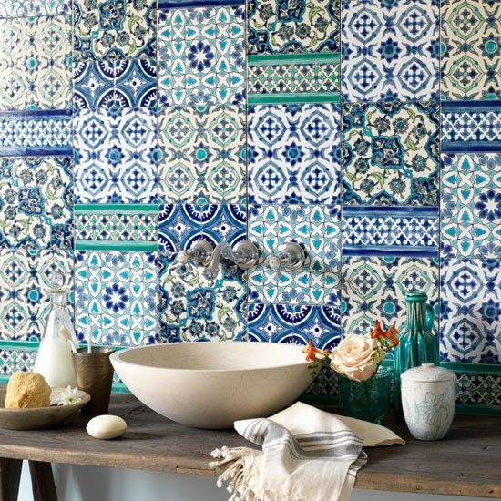Brightly tiled splashback