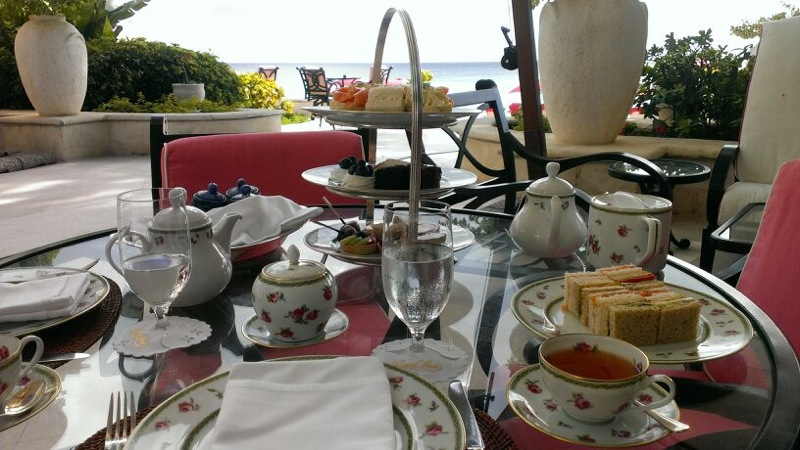 Afternoon tea at Sandy Lane, Barbados