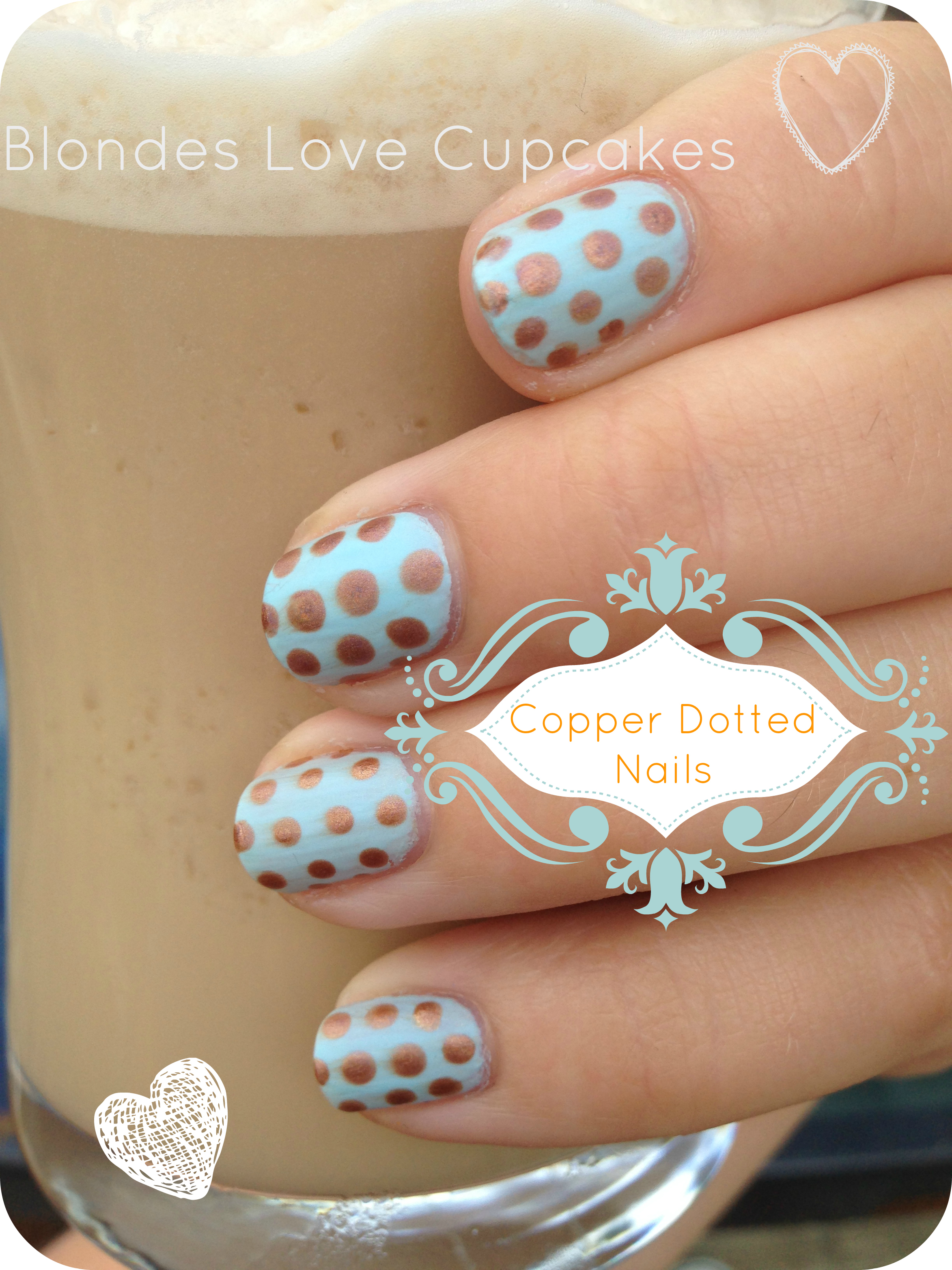 Copper & Pastel Dotted Nails