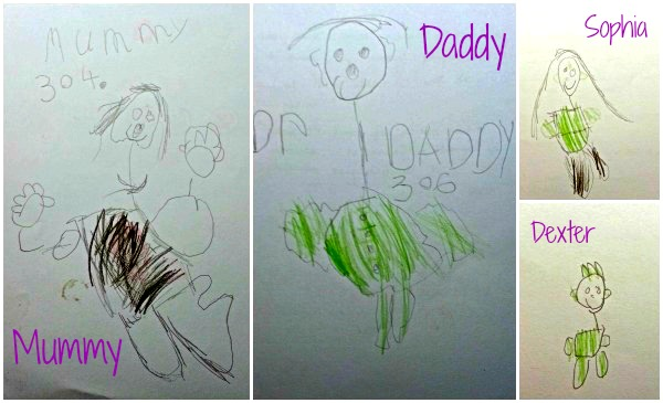 Family portraits from a 5-year-old