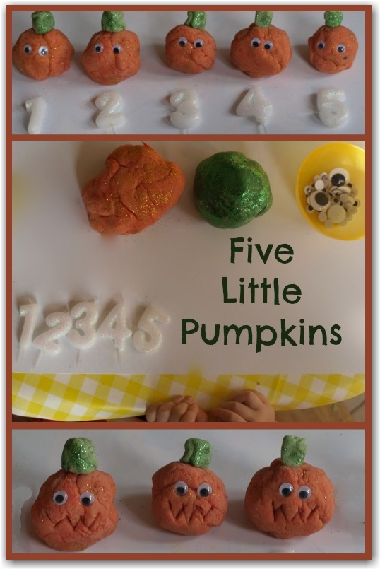 Five Little Pumpkins Play dough - Here Come the Girls