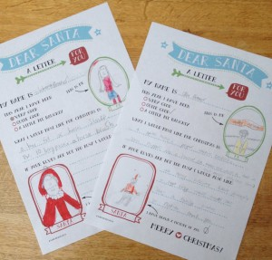 Ollie & Leila fill out their Downloadable Santa Letters from Wink Design
