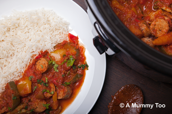 Slow cooked vegetarian sausage casserole (recipe)