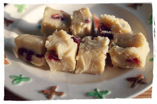 White Chocolate, Cranberry , Orange and Peanut Fudge