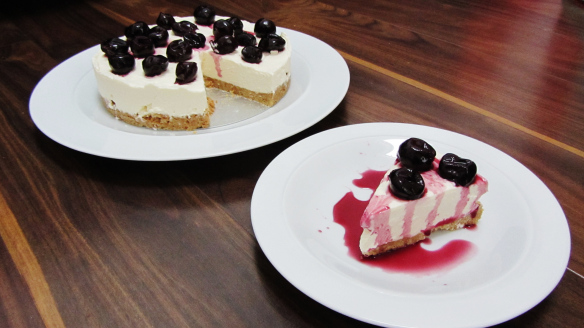 Black Cherry Cheesecake Topped with Kirsch Soaked BlackCherries