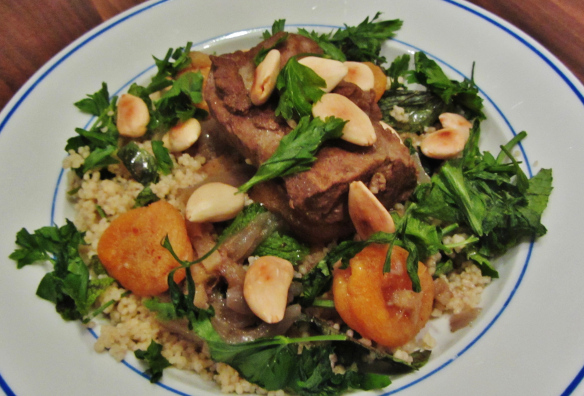 Slow Cooked Lamb with Apricot and Almonds