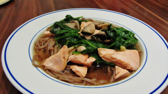 Salmon Miso Soup with SobaNoodles